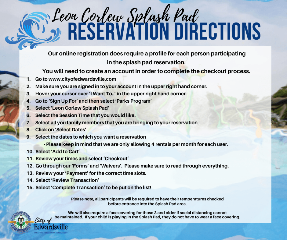 Splash Pad Reservation Directions