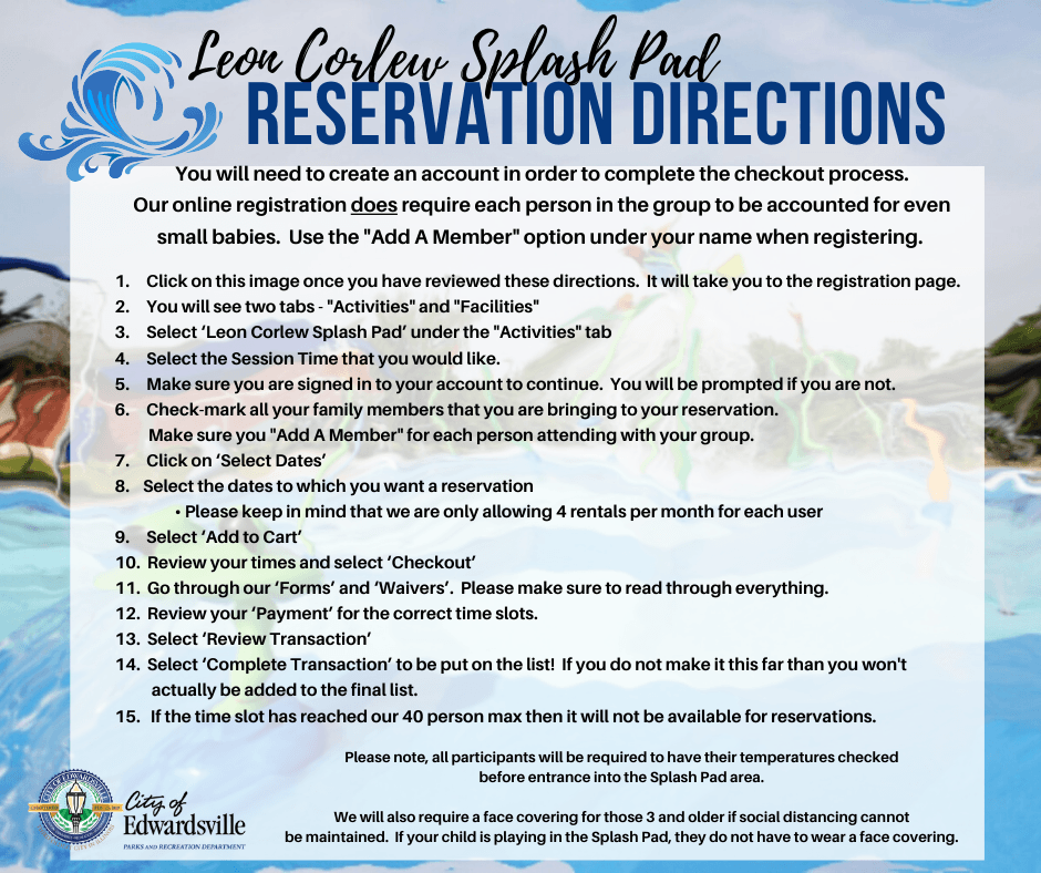 Splash Pad Reservation Directions Modified