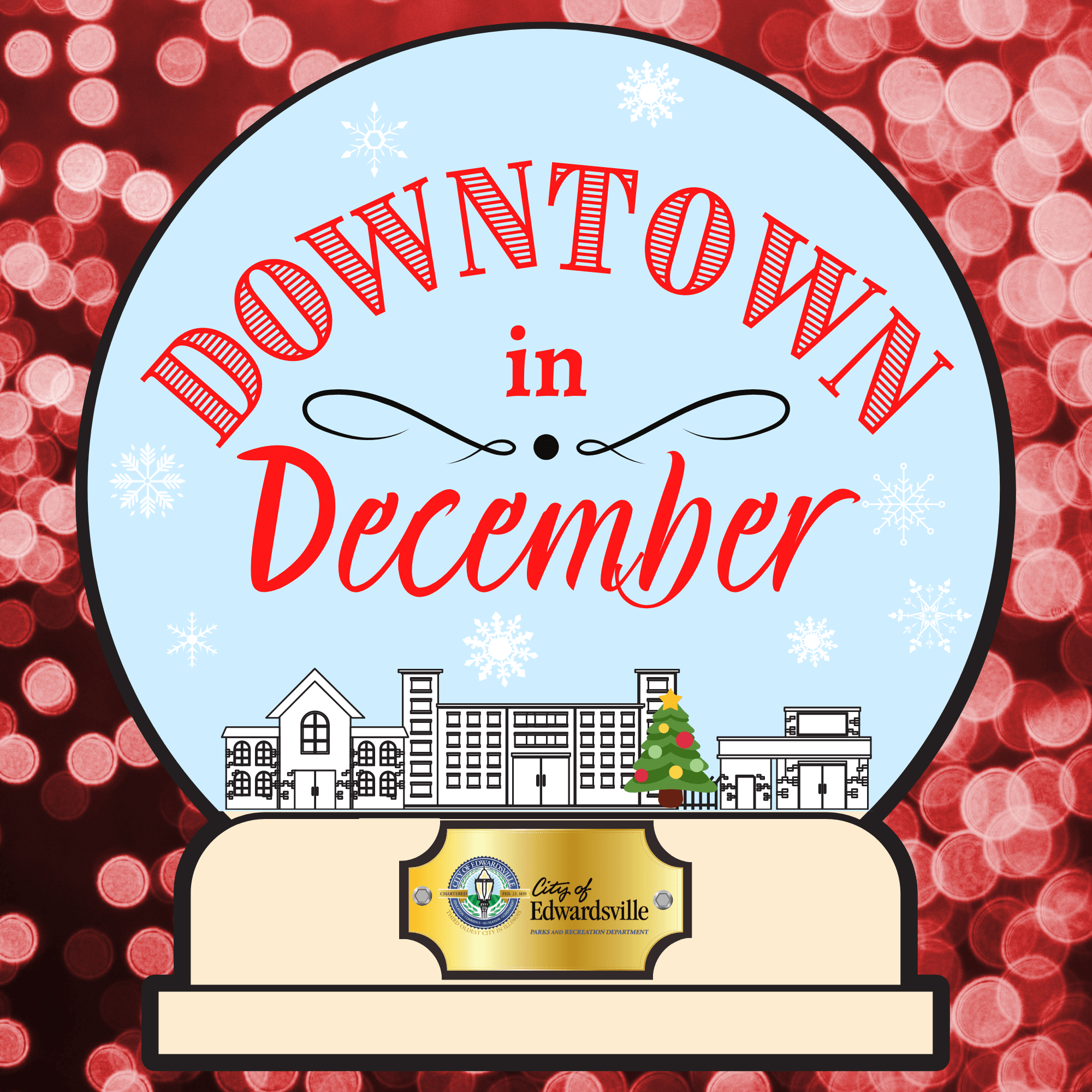 downtown in december logo red background